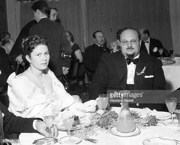 Former Farouk I of Egypt with his daughter Princess Farial attend a gala at the casino in Rome