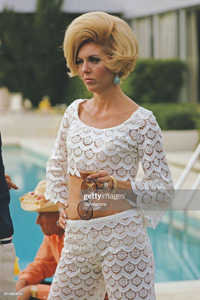 Former fashion model Helen Dzo Dzo at the Kaufmann Desert House in Palm Springs, California, January 1970.