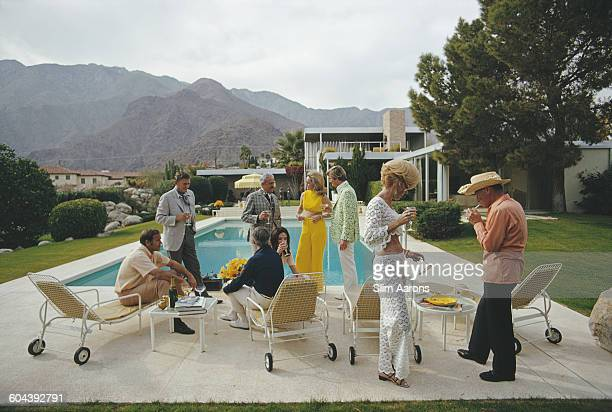 Former fashion model Helen Dzo Dzo Kaptur Nelda Linsk wife of art dealer Joseph Linsk and other guests at the Kaufmann Desert House in Palm Springs...