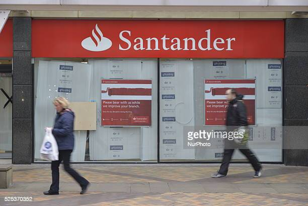 A former fashion store retail unit changing in to a branch of the Santander bank in central Stockport on Friday 20th March 2015 A redundant retail...