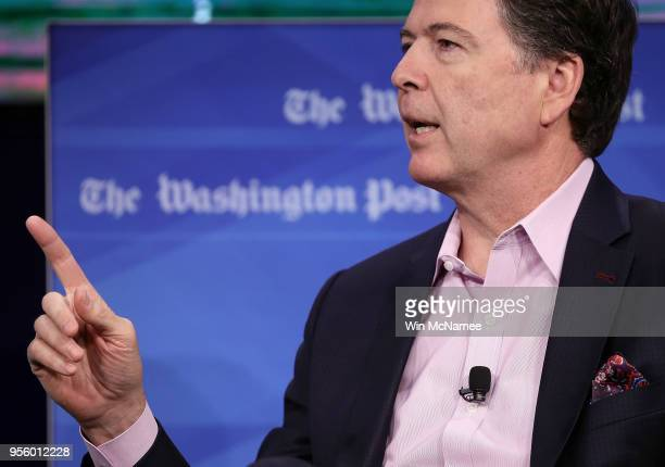Former FBI director James Comey answers questions during an interview forum at the Washington Post May 8 2018 in Washington DC Comey discussed his...