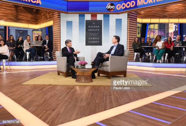 AMERICA Former FBI Director James Comey in his first live broadcast interview with George Stephanopoulos on 'Good Morning America' Tuesday April 17...