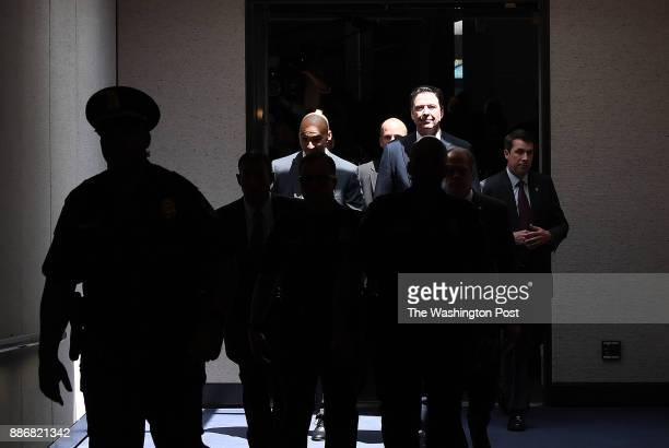 Former FBI Director James Comey leaves after a closed door meeting following his appearance before the Senate Intelligence Committee in the Hart...