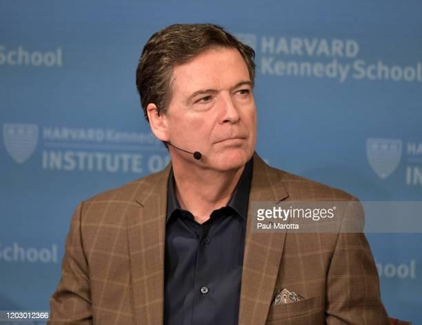 Former FBI Director James Comey speaks at Harvard Kennedy School with Harvard's Eric Rosenbach on February 24, 2020 in Boston, Massachusetts.