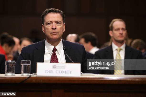 Former FBI Director James Comey testifies before the Senate Intelligence Committee in the Hart Senate Office Building on Capitol Hill June 8 2017 in...