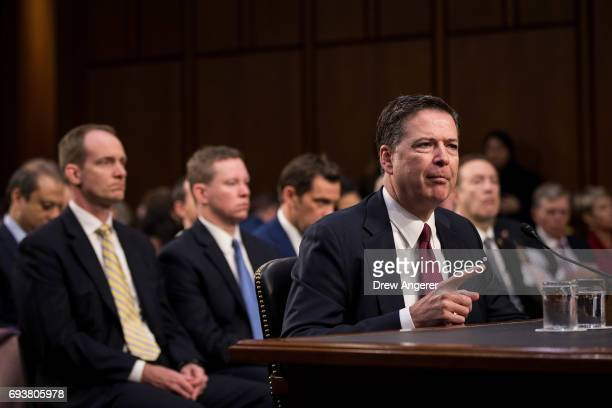 Former FBI Director James Comey testifies before the Senate Intelligence Committee in the Hart Senate Office Building on Capitol Hill June 8, 2017 in...