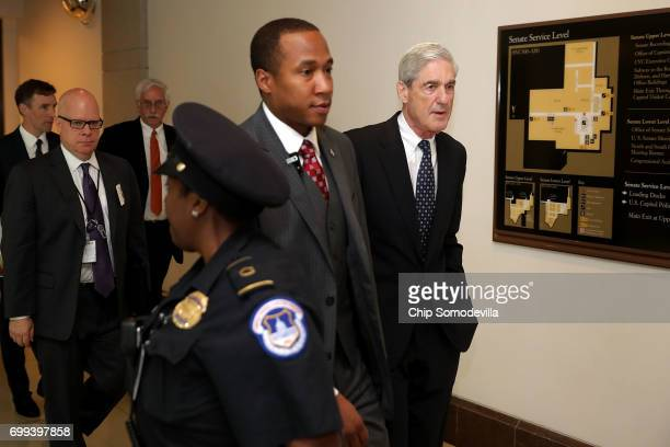 Former FBI Director Robert Mueller leaves a meeting with senators at the US Capitol June 21 2017 in Washington DC Special Counsel overseeing the...