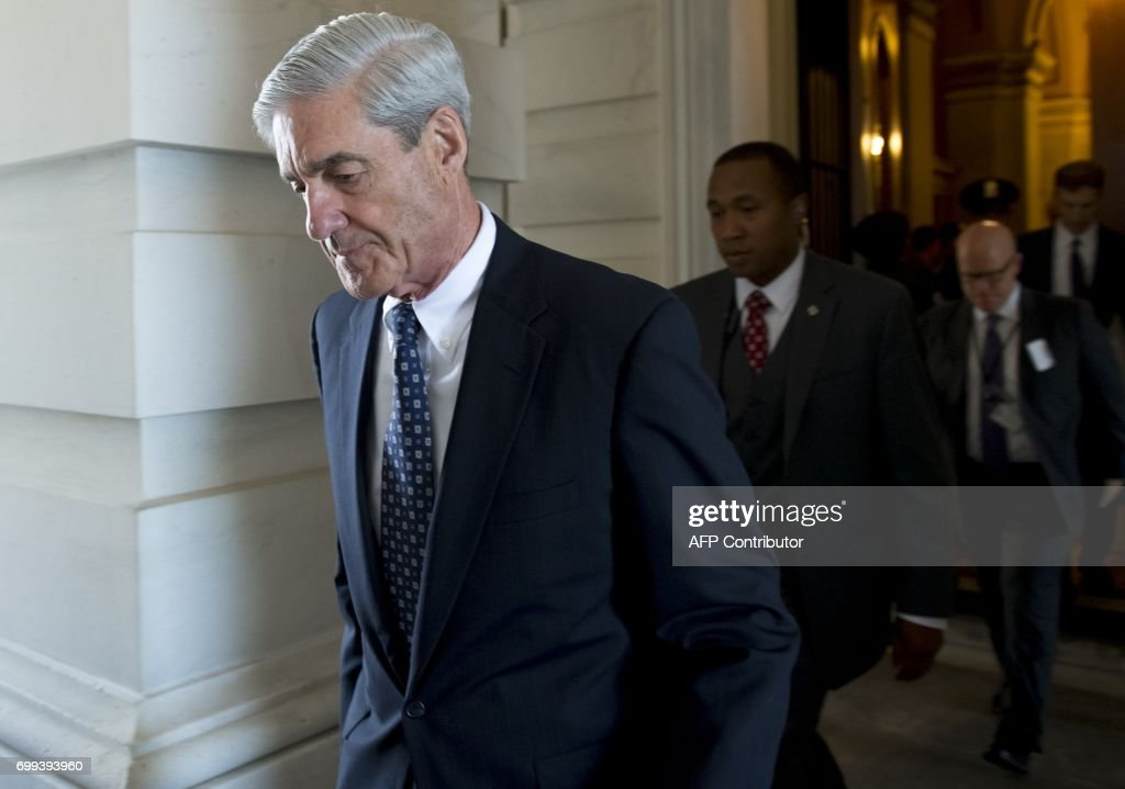 Former FBI Director Robert Mueller, special counsel on the Russian investigation, leaves following a meeting with members of the US Senate Judiciary Committee at the US Capitol in Washington, DC on June 21, 2017. /