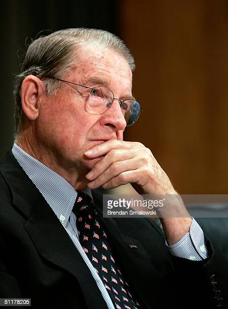 Former FBI Director William Webster listens to questions during a Senate Governmental Affairs hearing on the 9/11 Commission report August 16 2004 on...