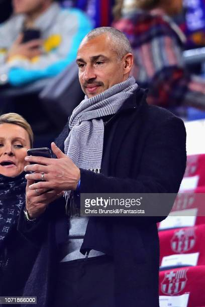 Former FC Barcelona player Henrik Larsson attends the UEFA Champions League Group B match between FC Barcelona and Tottenham Hotspur at Camp Nou on...