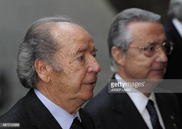 Former FC Barcelona president Josep Lluis Nunez stands during a religious ceremony at Barcelona Cathedral for late former FC Barcelona's coach Tito...