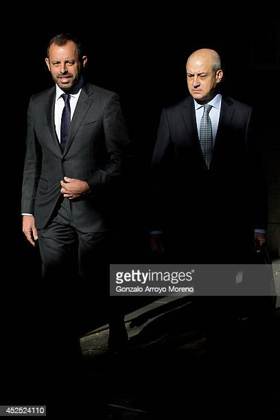 Former FC Barcelona president Sandro Rosell arrives at Spain's High Court in company of his lawyer on July 22 2014 in Madrid Spain Former FC...
