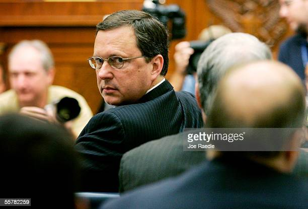 Former Federal Emergency Management Agency Director Michael Brown turns to his colleagues during a hearing before the House Select Hurricane Katrina...