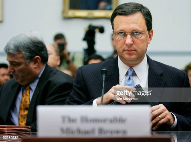 Former Federal Emergency Management Agency Director Michael Brown looks to committee members while taking his seat before the House Select Hurricane...