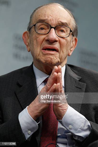 Former Federal Reserve Bank Chairman Alan Greenspan talks about his recent publication 'Activism' at the Council of Foreign Relations on March 15...