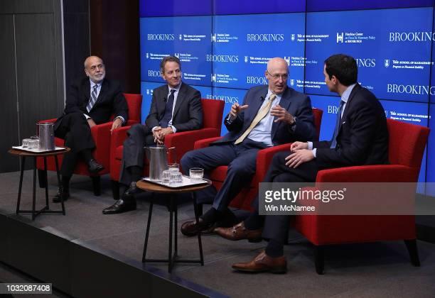 Former Federal Reserve Board Chairman Ben Bernanke former Treasury Secretary Timothy Geithner and former Treasury Secretary Hank Paulson answer...