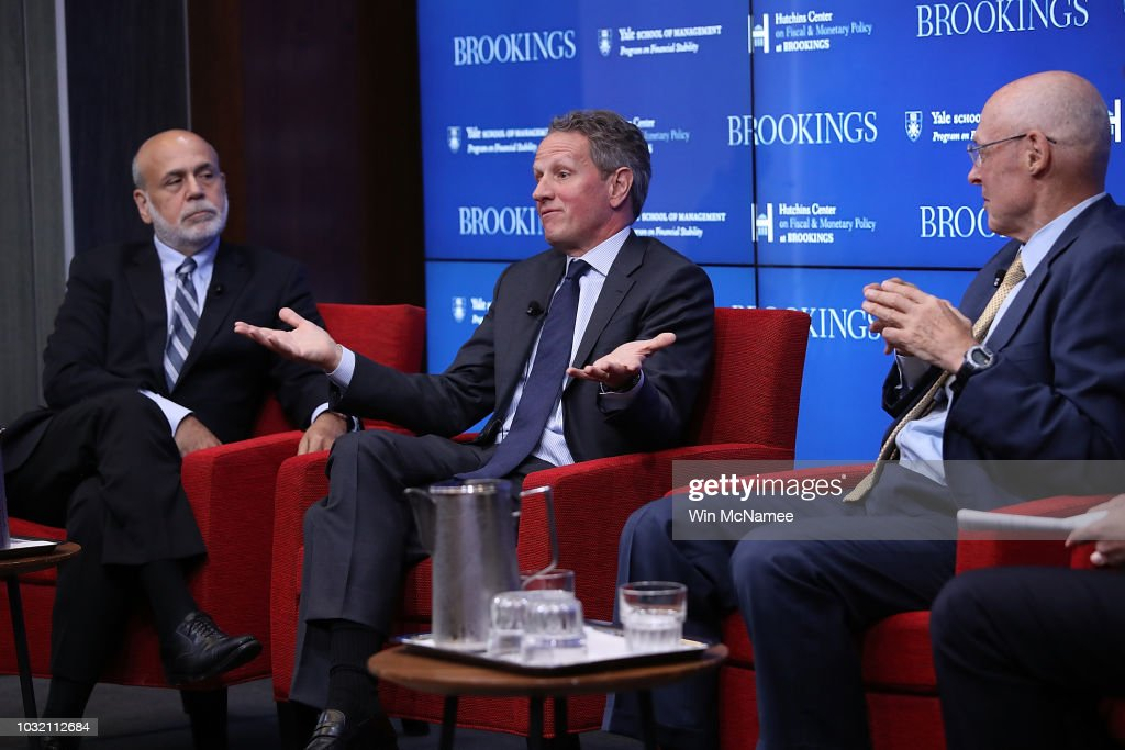 Former Federal Reserve Board Chairman Ben Bernanke, former Treasury Secretary Timothy Geithner and former Treasury Secretary Hank Paulson answer questions at the Brookings Institution September 12, 2018 in Washington, DC. The three participated in a conference on 'Responding to the Global Financial Crisis: What We Did and Why We Did It.'