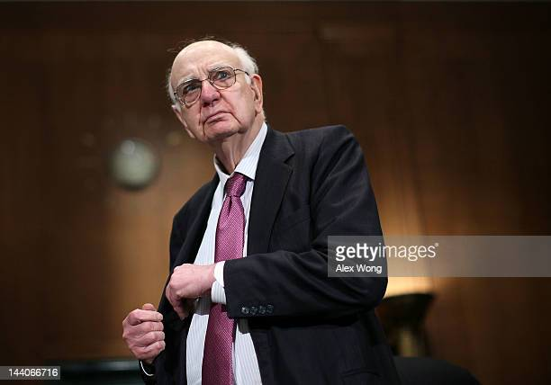 Former Federal Reserve Board Chairman Paul Volcker arrives at a hearing before the Financial Institutions and Consumer Protection Subcommittee of...