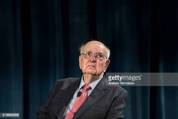 Former Federal Reserve Chair Paul A Volcker looks to the audience during a conversation with Federal Reserve Chair Janet Yellen Bernanke and former...