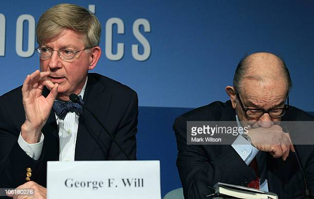 Former Federal Reserve Chairman Alan Greenspan and columnist George Will participate in a discussion about the late U.S. Senator Daniel Patrick...