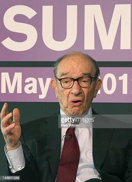 Former Federal Reserve Chairman Alan Greenspan speaks during a forum on the US economy at the Newseum on May 1 2012 in Washington DC Greenspan spoke...