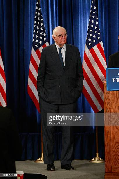 Former Federal Reserve Chairman Paul Volcker listens as Presidentelect Barack Obama introduces him as the head of the newly created Economic Recovery...