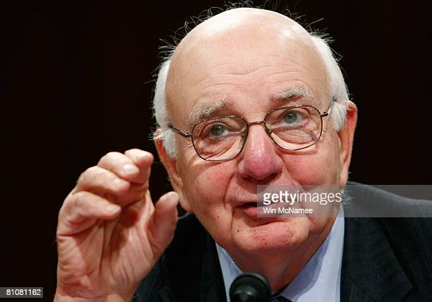 Former Federal Reserve Chairman Paul Volcker testifies before the Joint Economic Committee May 14 2008 on Capitol Hill in Washington DC The full...