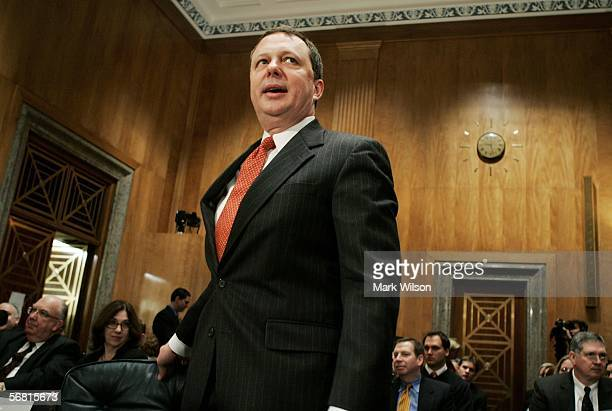 Former FEMA Director Michael Brown takes his seat at the witness table before appearing before the Senate Homeland Security and Governmental Affairs...