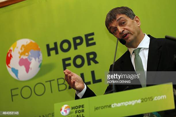 Former FIFA deputy general secretary Jerome Champagne addresses the Hope for Football press conference in London on January 20 2014 Jerome Champagne...