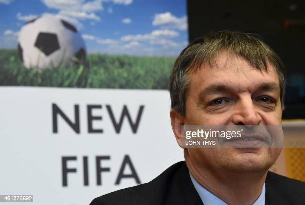 Former FIFA deputy general secretary Jerome Champagne smiles before a summit on FIFA at the European Union headquarters in Brussels on January 21...
