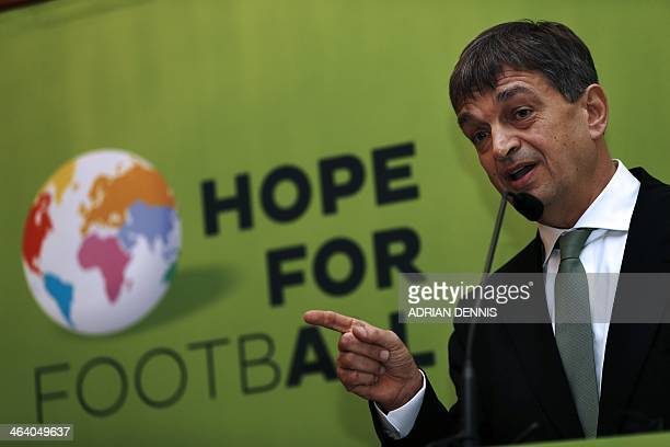 Former FIFA deputy general secretary Jerome Champagne speaks during the Hope for Football press conference in London on January 20 2014 Former FIFA...