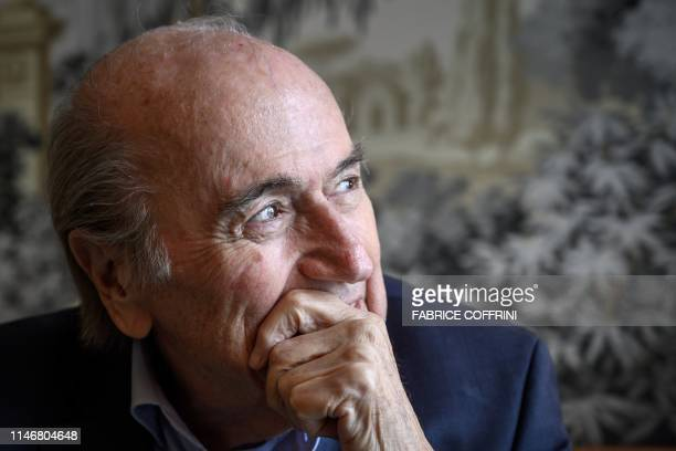 Former FIFA president Sepp Blatter looks on during an interview with AFP on May 28, 2019 in Zurich. - Sepp Blatter has blasted his successor as FIFA...