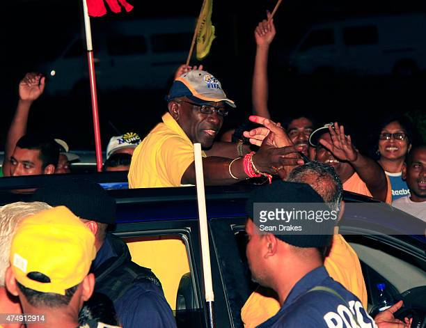 Former FIFA Vice President Austin Jack Warner arrives at Rienzi Complex on the final night of the general elections on May 24 2010 in Couva Trinidad...