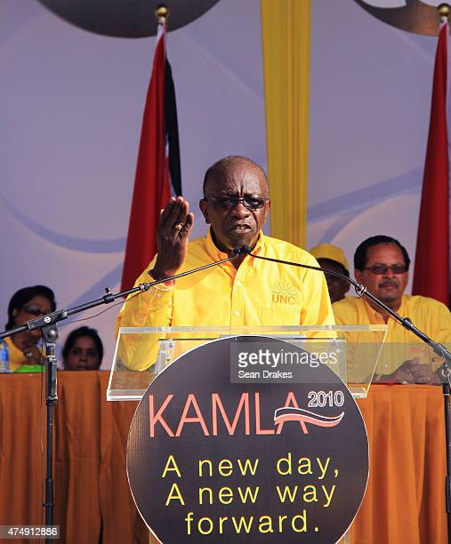 Former FIFA Vice President Austin Jack Warner delivers a speech at a rally during the general elections on May 22 2010 in Aranguez Trinidad On May 27...