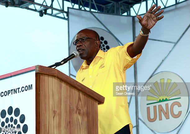 Former FIFA Vice President Austin Jack Warner from Trinidad and Tobago speaks to the audience during the campaign trail prior the general elections...