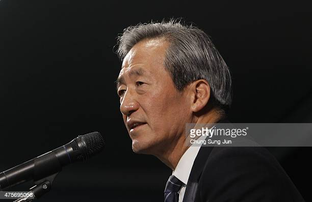 Former FIFA vice president Chung MongJoon speaks during a press conference on June 3 2015 in Seoul South Korea Honorary Vice President of FIFA Chung...
