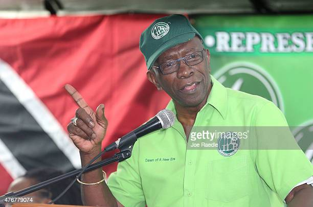 Former FIFA vicepresident Jack Warner speaks during an Independent Liberal Party community meeting on June 11 2015 in Surrey Trinidad And Tobago Mr...