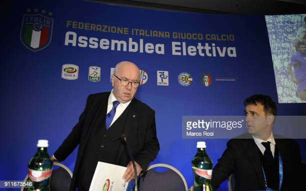 Former FIGC President Carlo Tavecchio and FIGC General Director Michele Uva attend the Italian Football Federation new president elections on January...