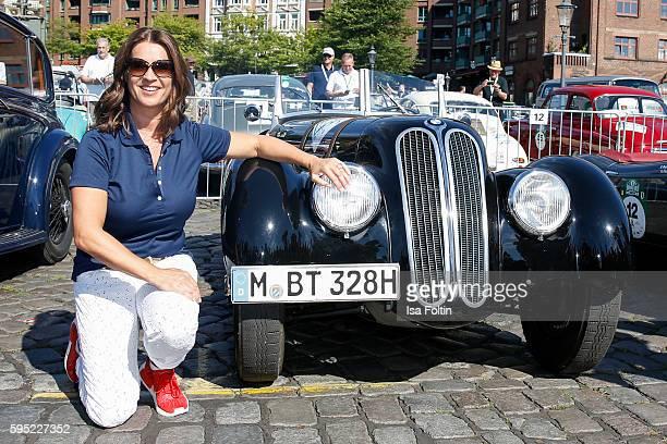 Former figure skater Katarina Witt attends the first day of the HamburgBerlin Klassik Rallye on August 25 2016 in Hamburg Germany