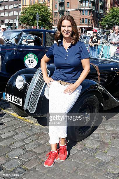Former figure skater Katarina Witt attends the first day of the HamburgBerlin Klassik Rallye on August 25 2016 in Hamburg Germany