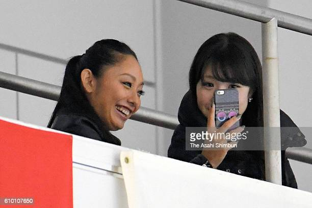 Former figure skater Miki Ando watches from the stand during day three of the ISU Junior Grand Prix of Figure Skating Yokohama on September 11 2016...