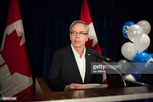 Former Finance Minister Joe Oliver speaks to his supporters during his election night reception October 19 2015 in Toronto Canada Oliver lost his...
