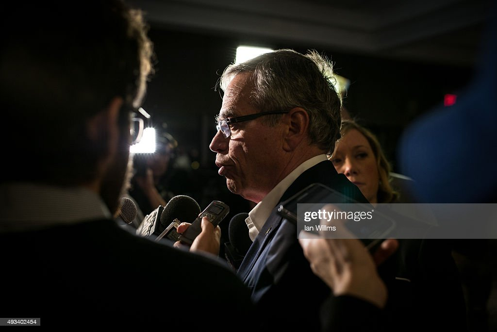 Former Finance Minister Joe Oliver speaks to the media during his election night reception, October 19, 2015 in Toronto, Canada. Oliver lost his seat to Liberal Marco Mendicino. Canadians went to the polls on October 19th and ousted Prime Minister Stephen Harper in favour of Justin Trudeau's Liberal party.