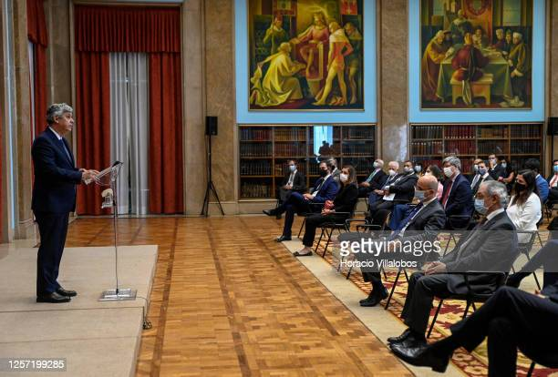Former Finance Minister Mário Centeno delivers remarks during the presentation ceremony as new Bank of Portugal Governor on July 20, 2020 in Lisbon,...