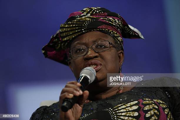Former Finance Minister of Nigeria Ngozi OkonjoIweala speaks during the Clinton Global Initiative annual meeting in New York on September 27 2015 AFP...