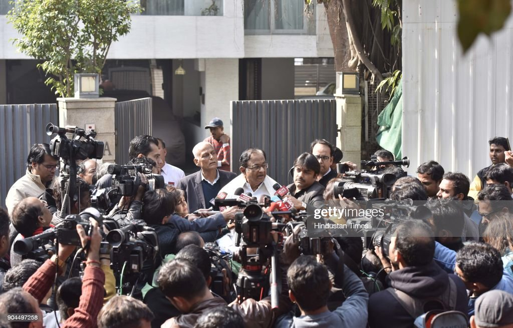 Former finance Minister P. Chidambaram interacts with media person after Enforcement Directorate (ED) conducted a raid, at his residence, on January 13, 2018 in New Delhi, India. The Central Bureau of Investigation (CBI) searched the homes and offices of the Karti Chidambaram, son of former finance minister P Chidambaram in connection with its money laundering probe in the Aircel-Maxis case as part of a wider probe into suspected misconduct in government approvals for foreign investments.