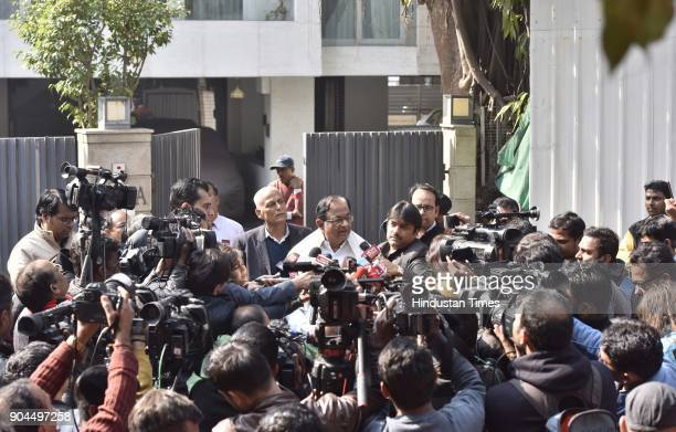 Former finance Minister P Chidambaram interacts with media person after Enforcement Directorate conducted a raid at his residence on January 13 2018...