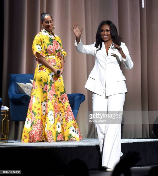 Former First Lady and author Michelle Obama appears onstage with Tracee Ellis Ross at Becoming An Intimate Conversation with Michelle Obama at the...