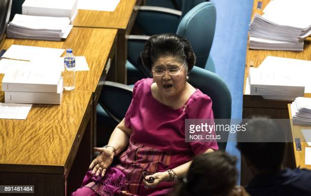 Former First Lady and congresswoman Imelda Marcos attends the deliberations to extend Martial Law in Mindanao at the session hall of the House of...