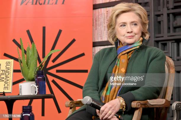 Former First Lady and Secretary of State Hillary Rodham Clinton speaks onstage at Cinema Cafe during the 2020 Sundance Film Festival at the Filmmaker...